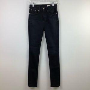 Rag & Bone High-Rise Skinny Jean in Dark Indigo Wash